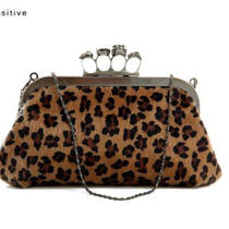 Fashion Style Leopard Imitation Horsehair Skeleton Skull Ring Bag Chain Handbag Photo