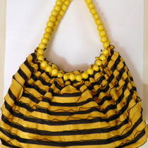 Fashion Summertime Ruffled Design Yellow & Black Striped Hobo Handbag Purse Photo
