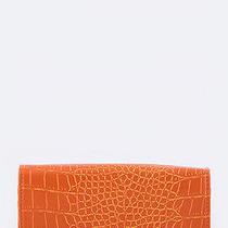 Fashion Trendy Accessories Croc Embossed Flip Lock Convertible Wallet Orange Photo