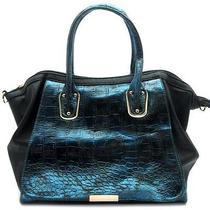 Fashion Trendy Accessories Handbag Purse Metallic Croc Satchel Bag Blue Photo