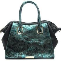Fashion Trendy Accessories Handbag Purse Metallic Croc Satchel Bag Green Photo
