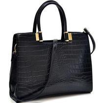 Fashion Trendy Briefcase for Her Classic Croc Textured Shoulder Strap Black Photo