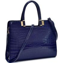 Fashion Trendy Briefcase for Her Classic Croc Textured Shoulder Strap Blue Photo