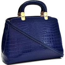 Fashion Trendy Briefcase for Her Faux Croc Hinge Handle Shoulder Strap Blue Photo