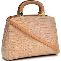 Fashion Trendy Briefcase for Her Faux Croc Hinge Handle Shoulder Beige Brown Photo