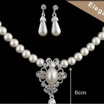 Fashion Wedding Bridal Imitation Pearl & Crystal Necklace Earring Set Costume Photo
