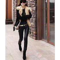 Fashion Women Other Lady's Stylish Winter Lamb's Wool Fur Collar Jacket Clothes Photo