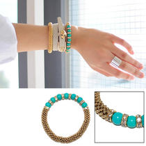 Fashion Womens Girls Chic Cubic Stone Gold Blue Bracelet Bangle Beads New Photo