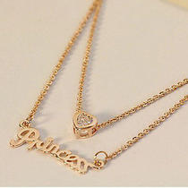 Fashion Womens Ladys 2 Layers Gold Plated Princess Heart Crystal Chain Necklace Photo