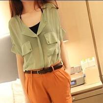 Fashionable & Comfortable Women Chiffon Solid Color Loose Short-Sleeved Shirt Photo