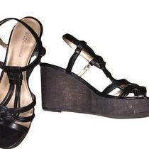 Faux Leather Wedge Heels Sandal Black Platform Bcbg Generation  Euc  Sz 9.5m Photo