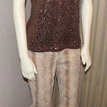 Faux Snake Skin Express Jeans Stretch Pants Size 9/10 Tans & Browns Nwot Cotton Photo