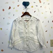 Feather Bone 0p Anthropologie White Lace Crochet Mixed Panel Blouse Top 0 Petite Photo