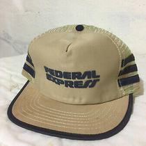 Federal Express Company Tan Side Stripes Vintage Trucker Usa Snapback Hat Cap Photo