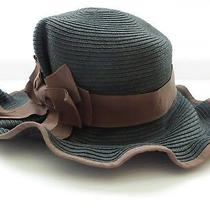 Fedora Sun Hat Charcoal Grey W/ Brown Bow Ruffled Brim Christys Crown Collection Photo