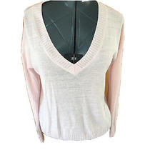 Feel the Piece by Terre Jacobs Womans M/l Blush Pink v Neck Lightweight Sweater Photo