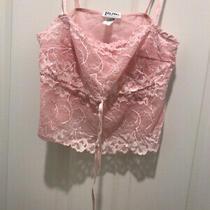 Felina Size Medium Blush Pink Lace Crop Top Thin Adjustable Strap Tie Front Photo