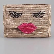 Felix Rey New York Kissy Face Basket Clutch Straw Clutch Magnetic Clasp Lips Photo
