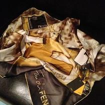 Fendi 100% Silk Scarf Rp 275 Nwt Made in Italy  27x27in  Beautiful Piece of Art Photo