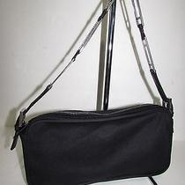 Fendi Auth Black Soft Canvas Microfiber Baguette Shoulder Purse Bag Photo