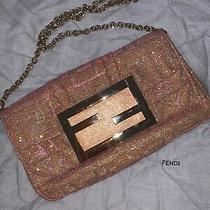 Fendi Baguette Zucca Pink Gold Glitter Chain Made in Italy Logo Clutch Rare Photo