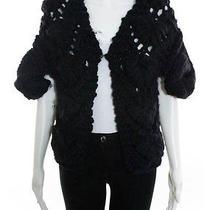 Fendi Black Chunky Decorative Cable Knit Shrug Sweater Sz It 44 Photo