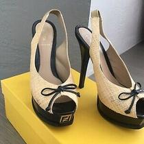 Fendi Black Leather Beige Raffia Peep Toe Platform Bow Fendista Pumps 39.5 750 Photo