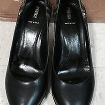 Fendi Black Leather Wedge Shoes Ff Logo  38 1/2  Photo