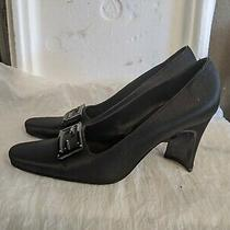 Fendi Black Satin Pumps W/ Heels Out Style Size 8 Zucca Metal Plate Logo Photo