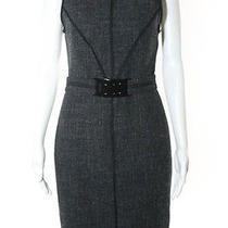 Fendi Black Silk Sleeveless Built in Belt Boucle Print Dress Sz Eur 42 Photo
