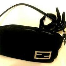 Fendi Black Soft Clutch Crushable Bag Purse Silver Logo W/ Leather Strap  Photo