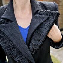 Fendi Black Wool Long Coat With Karakul Cuffs/collar/belt Size 10 Photo