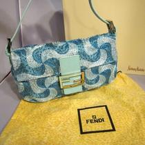 Fendi Blue Beaded Hand Embroidered Handbag Photo