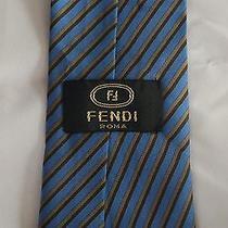Fendi Blue Striped Silk Neck Tie - Must See - High End Designer Photo