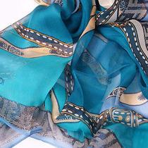 Fendi Blue Turquoise Scarf 100% Silk Shawl Wrap