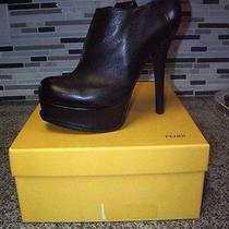 Fendi Boot Shoes Platform Pump Black Leather 38.5 Ankle Boot Like New Photo