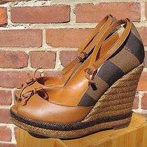 Fendi Brown & Khaki Stripes Peep Toe Wedge Sandals 4-3/4