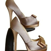 Fendi-Brown Silk Platform Pumps Size-38 1/2 Photo