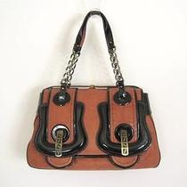Fendi Cognac Leather & Black Patent B Bag Photo