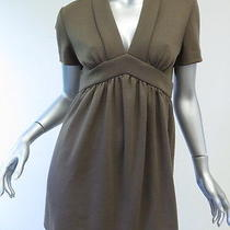 Fendi Collared v-Neck Empire Waist Mini Dress or Tunic Mocha Size 40 Photo