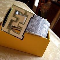 Fendi College Logo Belt White/silver Size 34 Photo
