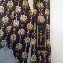 Fendi Cravatte 100% Silk Flower Chain High End Designer Neck Tie Italian Made Photo