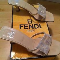 Fendi Cream Kitten Mother of Pearl Capiz Shell Sandal Shoe Size 6/36  Photo