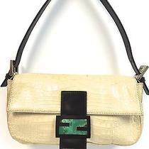 Fendi Crocodile Baguette Handbag With Green Quartz Stone and Leather Clasp Photo