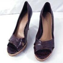 Fendi Crocodile Leather Open Toe Brown High Heel Cork Shoes Sz 5 Photo