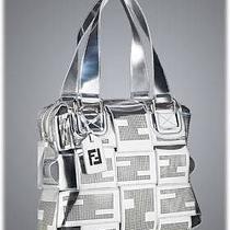 Fendi Crossword Grande Mirrored Bag Silver Seat Belt Perforated Photo