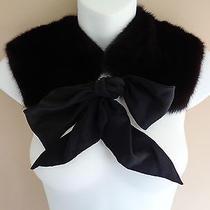 Fendi Dark Brown & Black Mink Fur & Black Silk Collar / Necklace / Wrap Photo