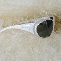 Fendi Designer Sunglasses Great Condition Off White Cream With Tags White Photo