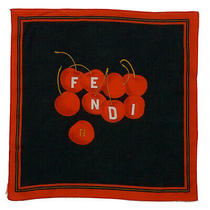 Fendi Ff Logo Cherry Black Small Cotton  Scarf 13 Inches Photo