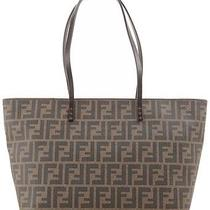 Fendi Ff Logo Roll Tote Bag Brown Zucca 8bh198 F0qt2 Ws15 Photo